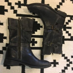 Bed Stu black leather buckle boots
